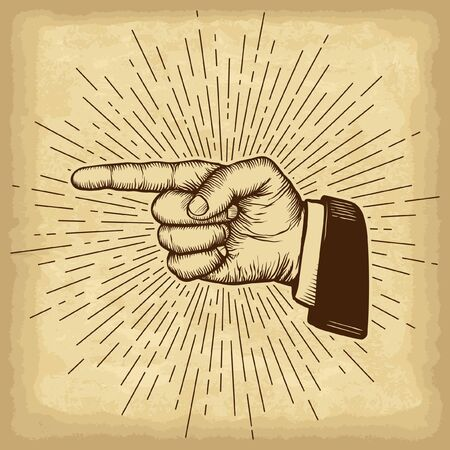 Hand drawn hand gesture. Forefinger on old craft paper texture background. Linear vintage style sun rays. Template for your design works. Engraved style vector illustration. Çizim