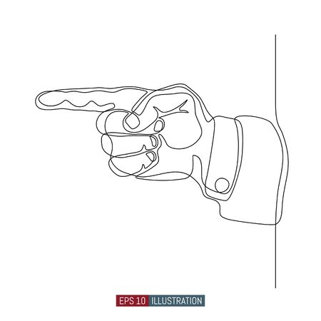 Continuous line drawing of forefinger. Vector illustration. Element for you design works.