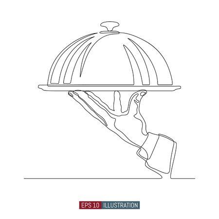 Line for hot dishes. Vector illustration. Element for you design works.