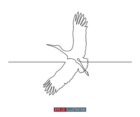 Continuous line drawing of flying stork. Template for your design works. Vector illustration. Illustration