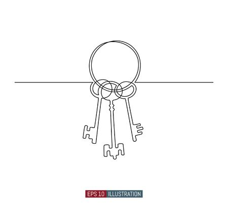Continuous line drawing of bunch of keys. Template for your design works. Vector illustration. Çizim