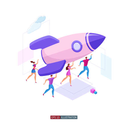 Trendy flat illustration. Teamwork metaphor concept. Cooperation of people who implement the joint idea. Startup business. Rocket lounch. Template for your design works. Vector graphics.