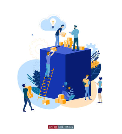 Trendy flat illustration. Teamwork metaphor concept. Globalization Learning Education Knowledge. Training Template for your design works. Vector graphics. Stock Illustratie