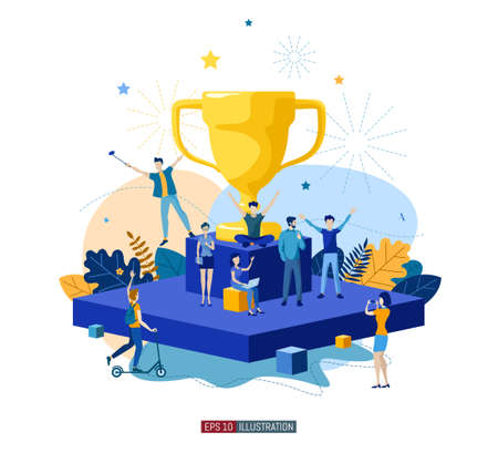 Trendy flat illustration. Teamwork metaphor concept. Globalization Learning Education Knowledge. Training Template for your design works. Vector graphics.