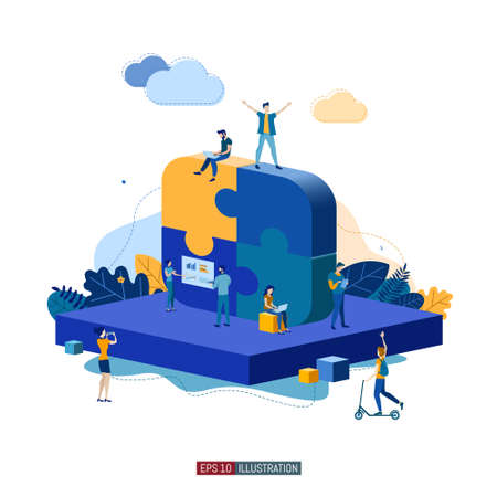 Trendy flat illustration. Business startup concept. Cooperation of people who implement the joint idea. Rocket launch preparation. Template for your design works. Vector graphics. Vektorové ilustrace
