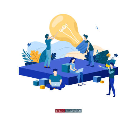 Trendy flat illustration. Business startup concept. Cooperation of people who implement the joint idea. Rocket launch preparation. Template for your design works. Vector graphics.