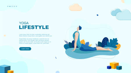 Trendy flat illustration. Yoga Lifestyle page concept. Man doing yoga. Activity Fitness Template for your design works. Vector graphics.