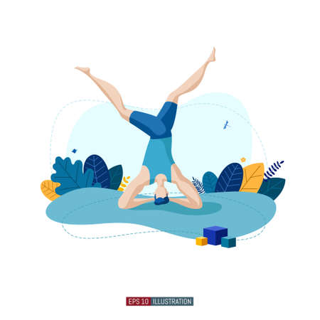 Trendy flat illustration. Man doing yoga. Activity Fitness Life style. Template for your design works. Vector graphics.