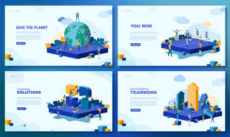 Trendy flat illustration. Set of web page concepts. Save the planet. You win. Teamwork solutions. Successful teamwork. Template for your design works. Vector graphics. Reklamní fotografie - 151410623