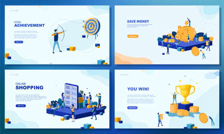Trendy flat illustration. Set of web page concepts. Save Money. Goal achievement. Archer aims at the target. Online shopping. You win. Template for your design works. Vector graphics. Vettoriali