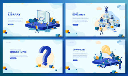 Trendy flat illustration. Set of web page concepts. Web library. Online education. Frequently asked questions. Template for your design works. Vector graphics. Stock Illustratie