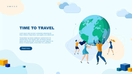 Trendy flat illustration. Time to travel page concept. Man, woman and children. Happy family Vacation Globe Template for your design works. Vector graphics. Illustration