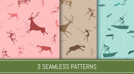 Seamless patterns set. Ancient people hunting and fishing scenes. Abstract backgrounds. Vector illustration. Illusztráció