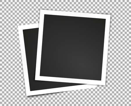 Isolated paper photo frames set. Transparent background. Template for your design works. Vector illustration.