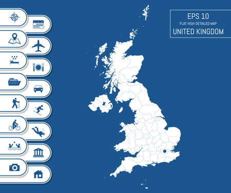 Flat high detailed United Kingdom map. Divided into editable contours of administrative divisions. Vacation and travel icons. Template for your design works. Vector illustration. Ilustração