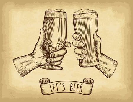 Hands holding and clinking beer glasses. Old paper texture background. Engraved style. Hand drawn vector illustration.
