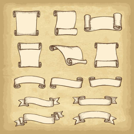 Isolated hand drawn banners set. Old paper texture background. Vintage style elements for your design works. Vector illustration. Vektorové ilustrace