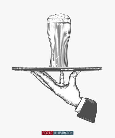Waiter's hand hold tray with beer glass. Engraved style hand drawn vector illustration. Template for your design works. Illustration