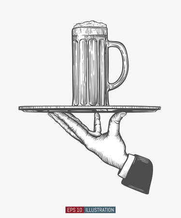 Waiter's hand hold tray with beer glass. Engraved style hand drawn vector illustration. Template for your design works. Vektorgrafik