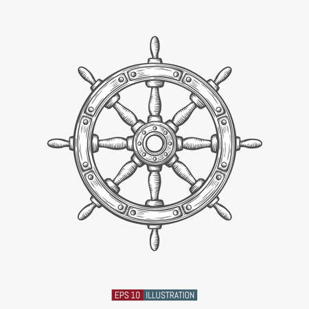 Hand drawn ship wheel. Template for your design works. Engraved style vector illustration.