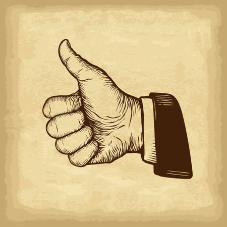 Hand drawn thumb up gesture. Old paper texture background. Engraved style vector illustration. Element for you design works.