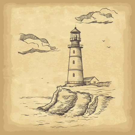 Hand drawn lighthouse. Old paper texture background. Template for your design works. Engraved style vector illustration. Vektorové ilustrace