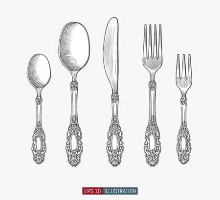 Hand drawn spoons, forks and knifes. Engraved style vector illustration. Elements for your design works. Ilustración de vector