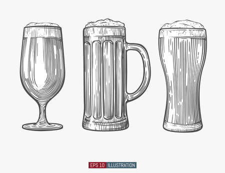 Hand drawn isolated beer glasses. Engraved style. Template for your design works. Vector illustration. Illustration