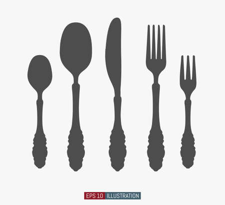 Hand drawn spoons, forks and knifes. Engraved style vector illustration. Elements for your design works.