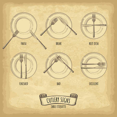 Hand drawn plate, fork and knife. Cutlery signs table etiquette. Engraved style vector illustration. Elements for your design works.