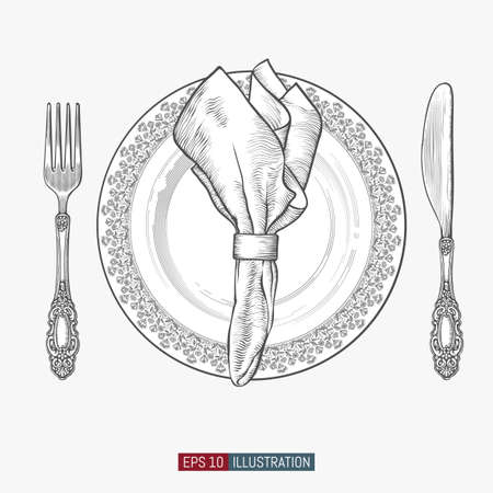 Hand drawn plate, spoons, forks and knifes. Engraved style vector illustration. Elements for your design works.