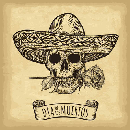 Hand drawn skull, sombrero and roses on old craft paper texture background. Template for your design works. Engraved style vector illustration. Day of the dead lettering (Spanish language).