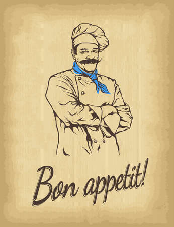 Hand drawn chef. Smiling male character. Old paper background. Bon appetit lettering. Engraved style vector illustration. Template for your design works.