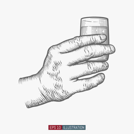 Hand holding glass. Template for your design works. Engraved style vector illustration.