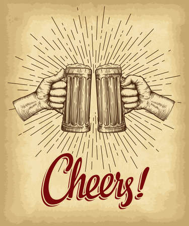 Hands holding beer glasses. Cheers lettering. Old paper texture with linear vintage style sun rays background. Engraved style hand drawn vector illustration.