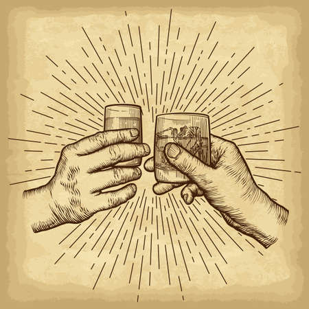 Hands holding glasses. Linear vintage style sun rays background. Template for your design works. Engraved style vector illustration.