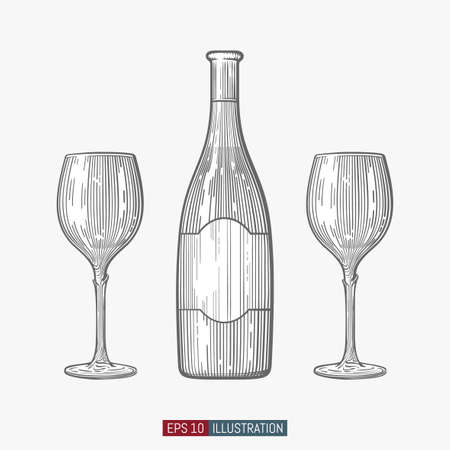 Hand drawn wine bottle and glasses. Engraved style vector illustration. Template for your design works. 向量圖像