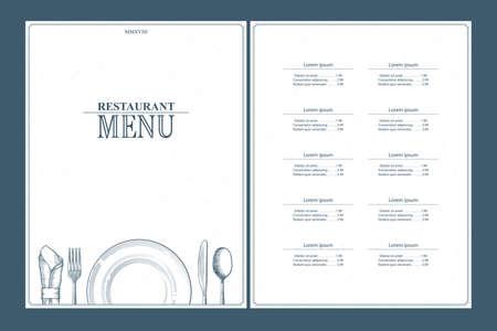 Restaurant menu brochure design. Template for your design works. Vector illustration.