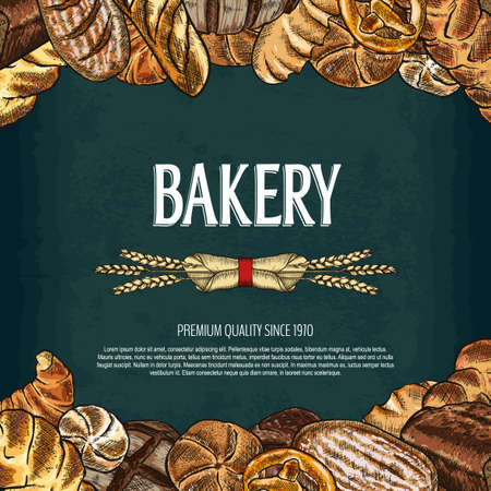 Bakery background. Hand drawn bread and pastry collection. Editable mask. Bakery shop logo. Template for your design works. Vector illustration.