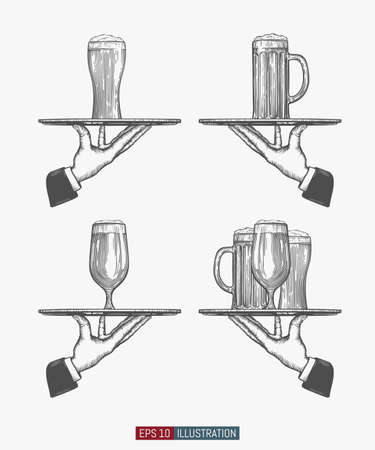 Waiter hands holding tray with beer glasses set. Template for your design works. Engraved style hand drawn vector illustration.
