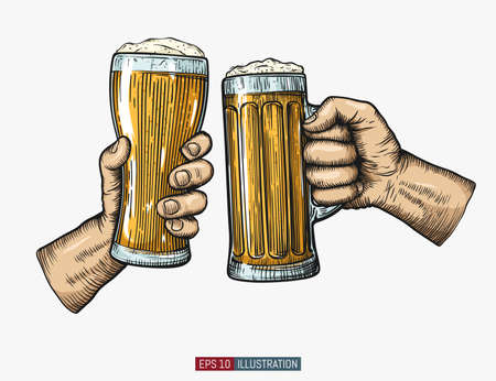 Hands holding and clinking beer glasses. Engraved style. Hand drawn vector illustration. Illustration