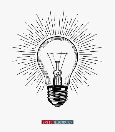 Hand drawn light bulb. Vintage style linear sun rays. Template for your design works. Engraved style vector illustration.