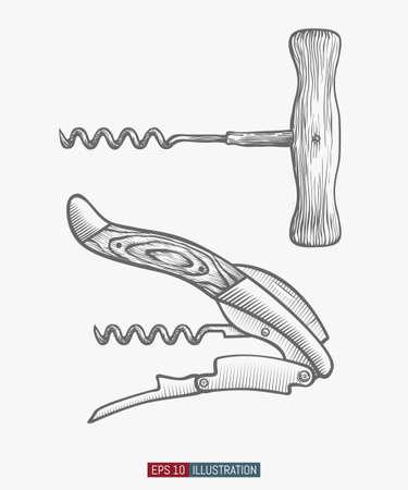 Hand drawn corkscrew set. Engraved style vector illustration. Element for your design works.