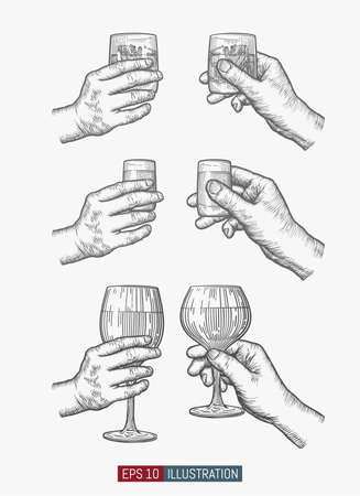 Hands holding glasses set. Template for your design works. Engraved style vector illustration. Illustration