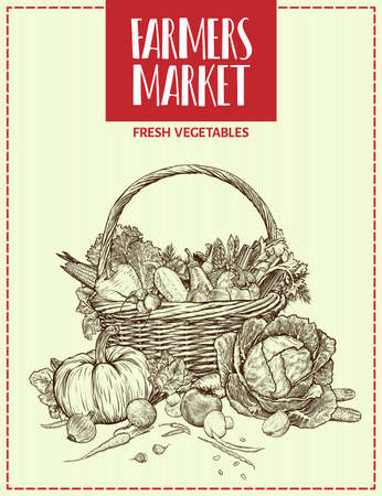 Hand drawn fresh vegetables in wicker basket. Template for your design works. Engraved style vector illustration.