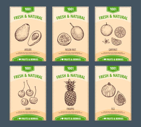 Fruits and berries banners set. Hand drawn avocado, passion fruit, grapefruit, cherry, pineapple, figs. Template for your design works. Vector illustration. Vettoriali