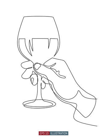 Continuous line drawing of hand holding wine glass. Template for your design. Vector illustration. Illustration