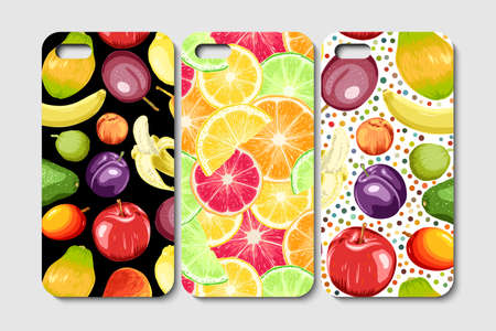 Set of phone case design. Abstract fruits and berries background. Vector illustration. 向量圖像