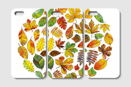 Set of phone case design. Abstract leaves backgrounds. Vector illustration.