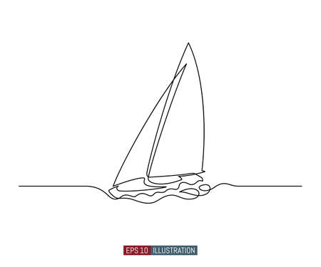 Continuous line drawing of yacht. Abstract sailing vessel silhouette. Template for your design works. Vector illustration.